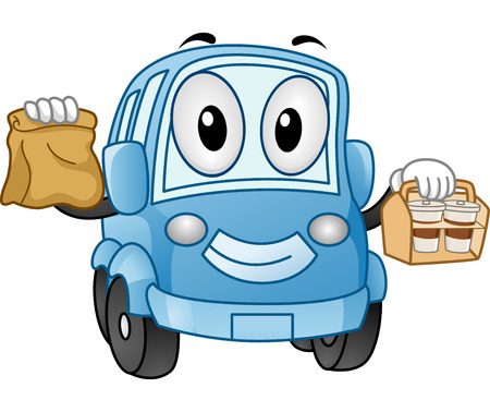 take out: Mascot Illustration of a Car Carrying Take Out Food Stock Photo
