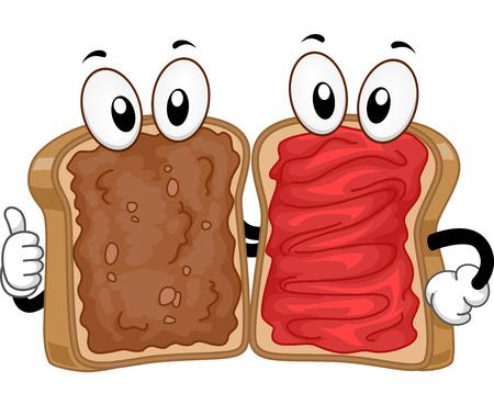 cacahuate: Mascot Ilustraci�n de una mantequilla de man� y mermelada Sandwiches salir juntos Foto de archivo