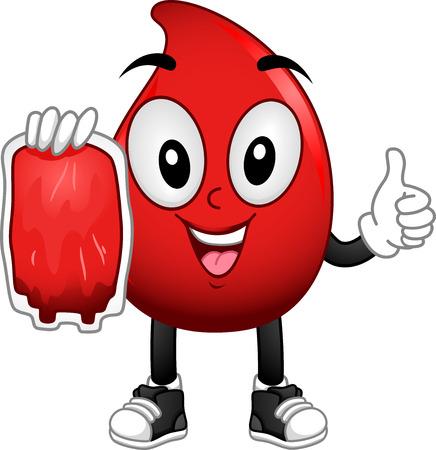 globulo rojo: Ilustración de la mascota de un glóbulo rojo que lleva una bolsa de sangre