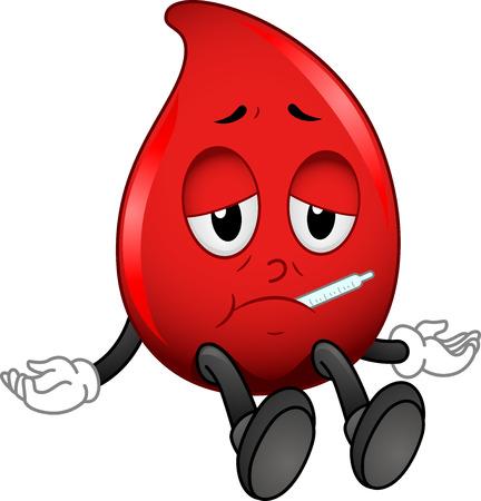 red blood cell: Ilustraci�n de la mascota de un gl�bulo rojo con un term�metro Pegado en la boca Foto de archivo