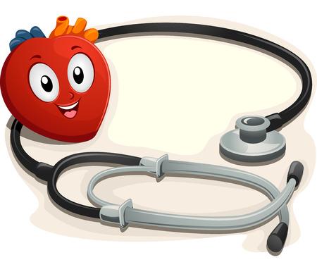 hospital dibujo animado: Mascot Ilustraci�n de un coraz�n sienta al lado de un estetoscopio Foto de archivo