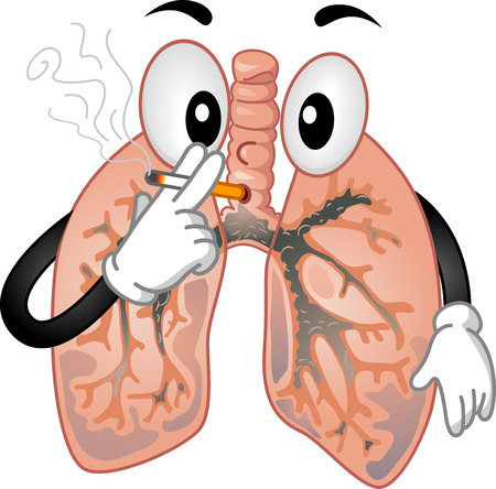 Mascot Illustration of the Lungs Smoking a Cigarette Stock Photo
