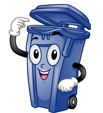 cesto basura: Mascot Ilustración de un Papelera abierta señala a sí mismo