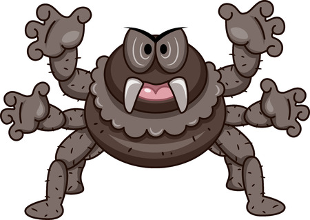 cartoonize: Mascot Illustration of a Spider with Its Tentacles Spread Wide Stock Photo