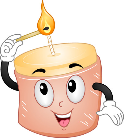 scented candle: Mascot Illustration of a Candle Lighting Itself