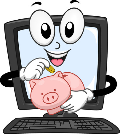 dropping: Mascot Illustration of a Computer Monitor Dropping Coins in a Piggy Bank
