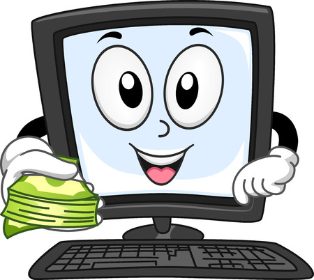 computer mascot: Mascot Illustration of a Computer Monitor Holding a Stack of Cash