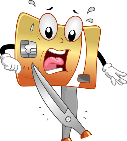 anthropomorphic: Mascot Illustration of a Terrified Credit Card About to be Cut Stock Photo