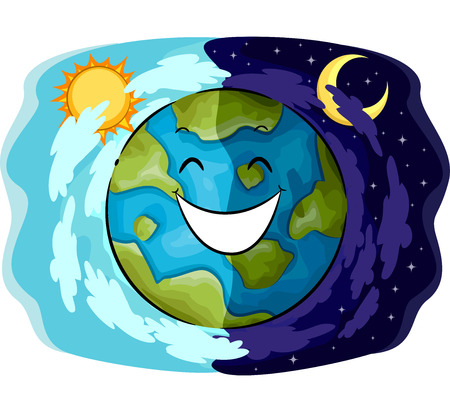 day night: Mascot Illustration of a Happy Earth Showing the Contrast Between Day and Night Stock Photo