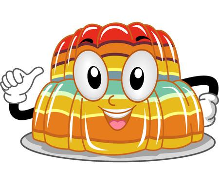 gelatina: Mascot Ilustraci�n de una pila de gelatina que se�ala a s� mismo