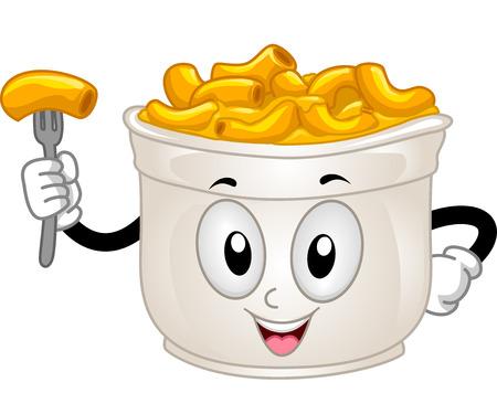 맥과 치즈의 컵의 마스코트 그림 스톡 콘텐츠