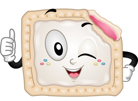 partially: Mascot Illustration of a Partially Eaten Toaster Pastry Giving a Thumbs Up Stock Photo