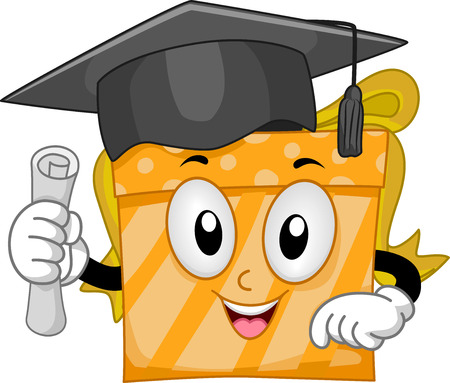 anthropomorphic: Mascot Illustration of a Gift Wearing a Graduation Cap and Holding a Diploma