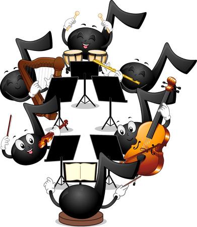 arpa: Ilustración de la mascota de las notas musicales de tocar en una orquesta