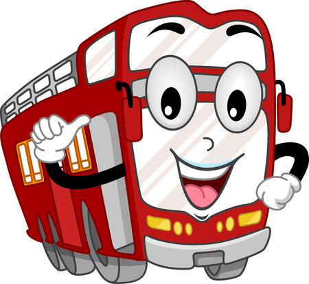 double decker: Mascot Illustration of a Double Decker Bus Pointing to Itself Stock Photo