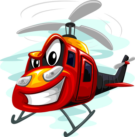 assault: Mascot Illustration of an Assault Helicopter Whirring Its Rotors