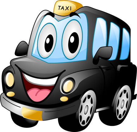 widely: Mascot Illustration of a Black Cab Smiling Widely Stock Photo