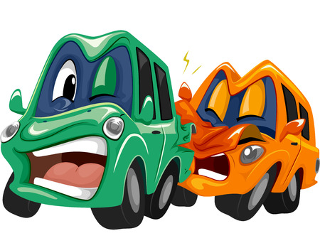 bender: Mascot Illustration of a Pair of Cars in a Rear End Collision