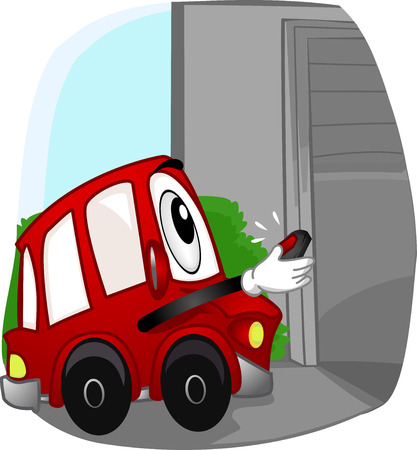 automatic: Mascot Illustration of a Car Opening the Garage with a Remote Control Stock Photo
