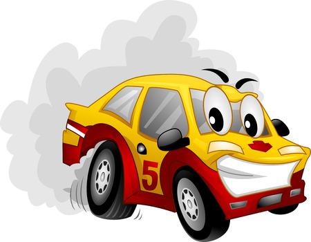 carro caricatura: Mascot Ilustración de un coche Participar en una exposición a la deriva