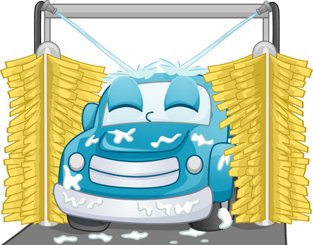 cartoon car: Mascot Illustration of a Satisfied Car Being Washed