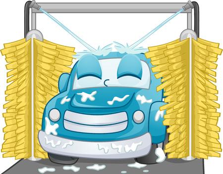 lavado: Mascot Ilustración de un coche Satisfecho de ser lavado