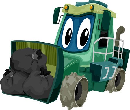 compactor: Mascot Illustration of a Garbage Compactor Carrying a Load of Garbage Stock Photo