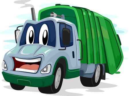 camion caricatura: Mascot Ilustración de un camión de basura que destella una sonrisa torpe Foto de archivo