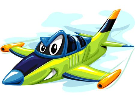 攻撃準備激しいジェット戦闘機のマスコット イラスト 写真素材