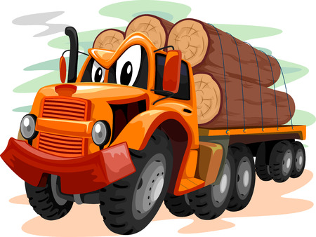 logs: Mascot Illustration of a Truck Transporting Large Logs