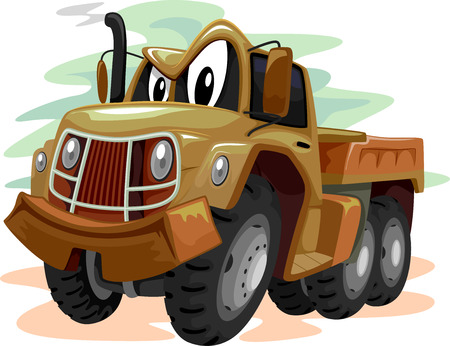 smirking: Mascot Illustration of a Brown Military Truck Smirking Stock Photo