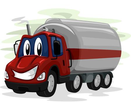 camión cisterna: Mascot Ilustración de un camión Oil Intermitente una sonrisa ancha