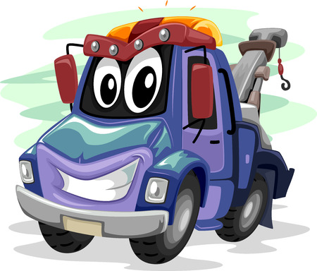 widely: Mascot Illustration of a Tow Truck Smiling Widely