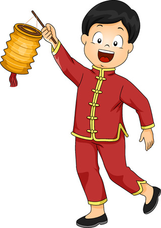 paper lantern: Illustration of a Boy Dressed in a Chinese Costume Carrying a Paper Lantern