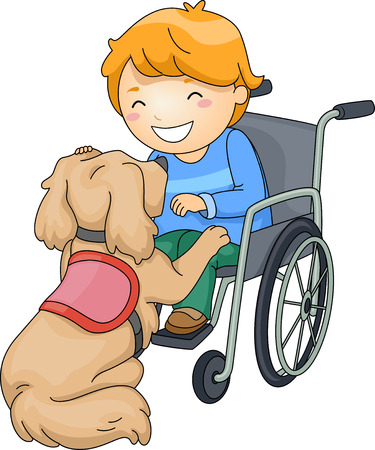 pet therapy: Illustration of a Disabled Boy Playing with an Assistance Dog Stock Photo
