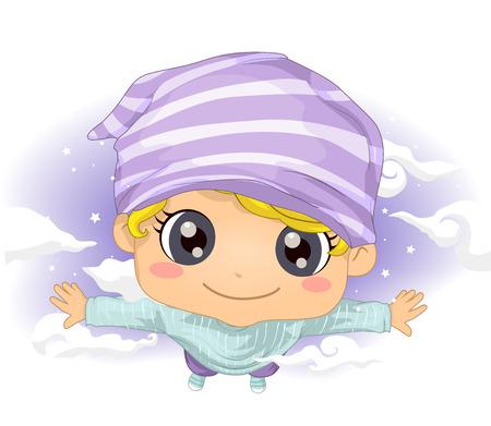 dreamlike: Illustration of a Cute Little Boy Flying in His Dreams Stock Photo