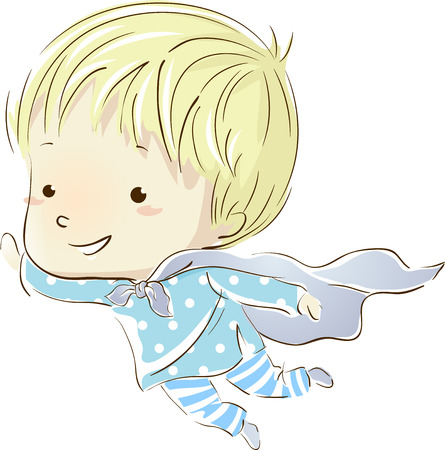 Illustration of a Little Boy in Pajamas Flying in His Dreams Imagens
