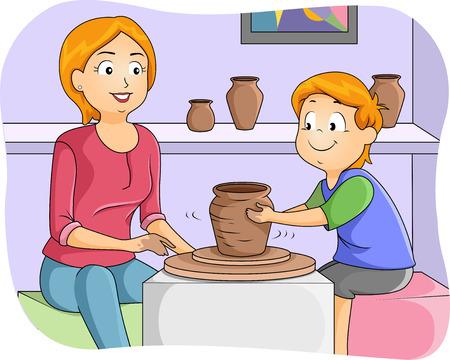 alfarero: Ilustración de un Little Boy Tomando Cerámica Lecciones