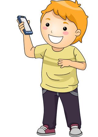 telefono caricatura: Ilustración de un Little Boy que muestra su Smartphone