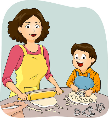 bake: Illustration of a Mother Teaching Her Son How to Bake