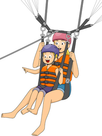 parasailing: Illustration of a Boy Parasailing with His Mother