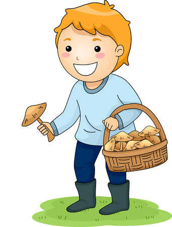 picking: Illustration of a Little Boy Picking Mushrooms Stock Photo