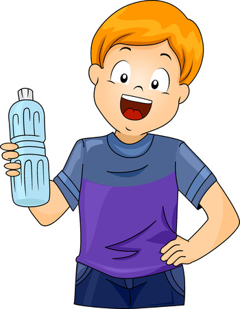 distilled water: Illustration of a Little Boy Holding a Plastic Bottle of Water