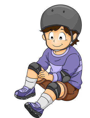 elbow pads: Illustration of a Little Boy Putting on Some Safety Gear Stock Photo