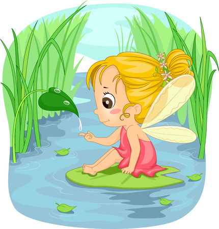 little girl sitting: Illustration of a Little Girl Dressed as a Fairy Sitting on a Lotus Leaf
