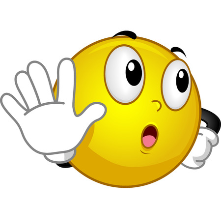 talk to the hand: Mascot Illustration of a Smiley Doing the Talk to the Hand Gesture