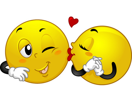 smooch: Mascot Illustration of a Female Smiley Kissing a Male Smiley