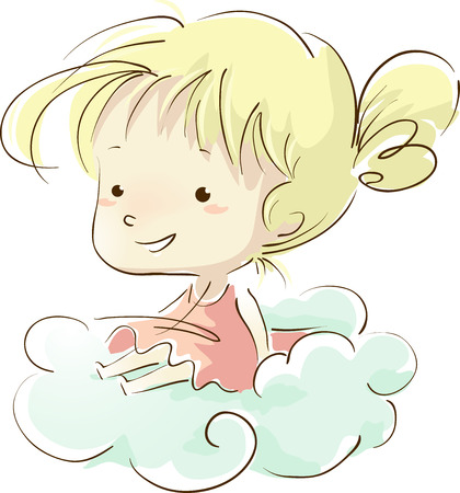 sketchy illustration: Sketchy Illustration of a Little Girl Sitting on a Cloud