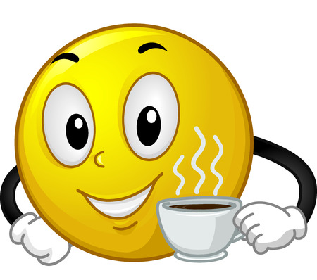 Mascot Illustration of a Smiley Holding a Cup of Hot Coffee Stock fotó
