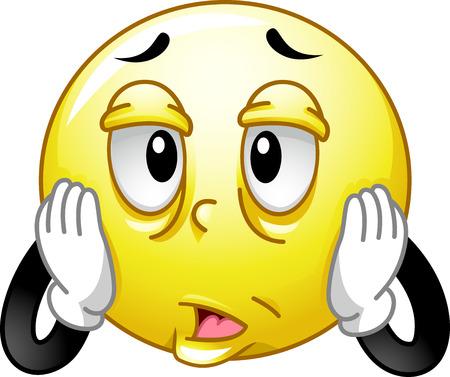 Mascot Illustration eines gestresste und müde Smiley